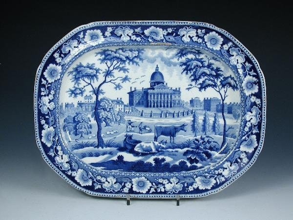 6: A ROGERS BLUE AND WHITE PLATTER