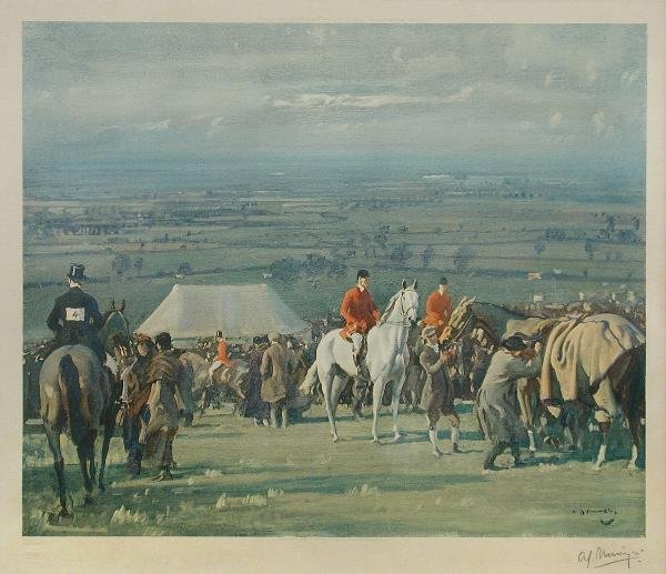 1026: AFTER MUNNINGS  POINT TO POINT  SIGNED COLOUR