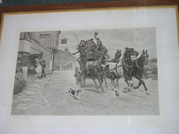 1037: AFTER CECIL ALDIN  COACHING SCENE  ENGRAVING BY W