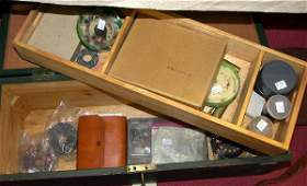 1457 A CUSTOM BUILT WOODEN TACKLE BOX CONTAINING A BRO