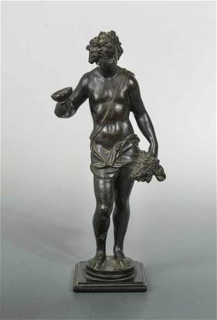 A bronze figure of Bacchus after Michelangelo, probably