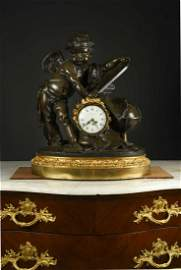 An imposing 19th century French bronze table clock,
