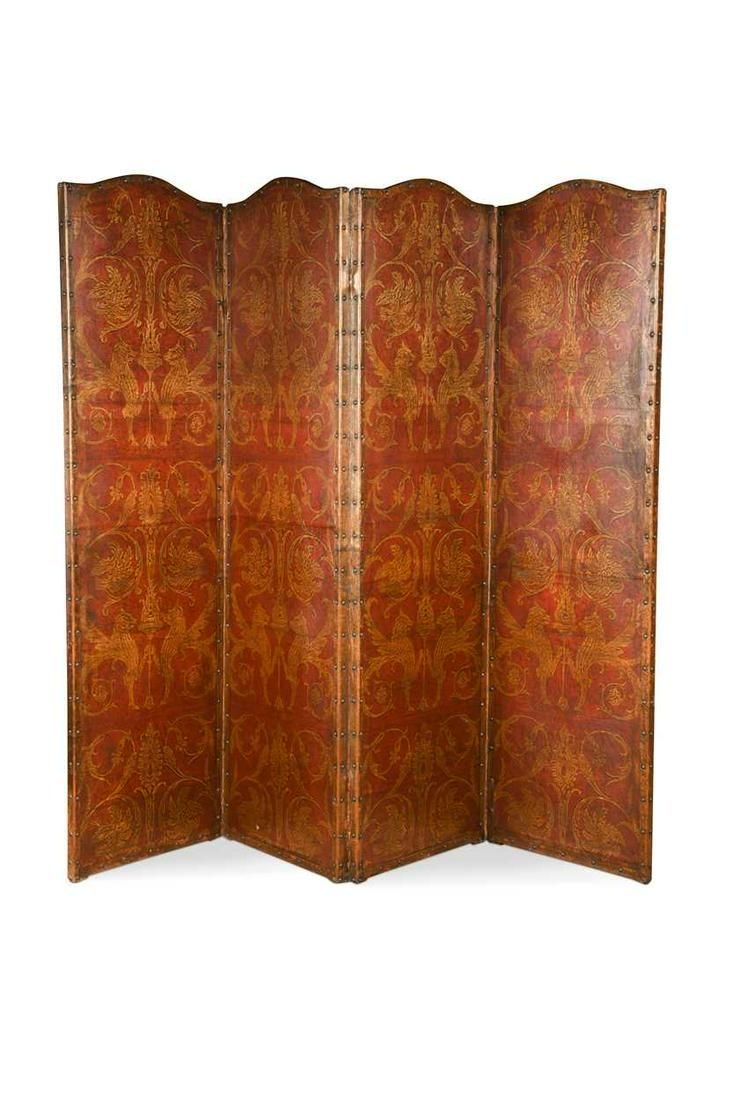 A four panel painted leather modesty screen, 19th