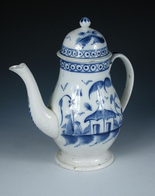 2: AN 18TH CENTURY PEARLWARE COFFEE POT AND COVER