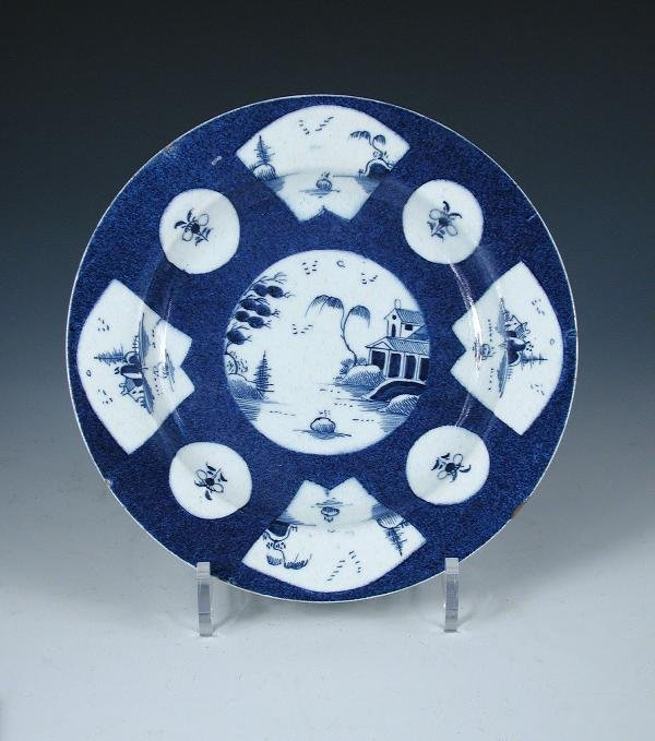 19: A BOW BLUE AND WHITE PLATE