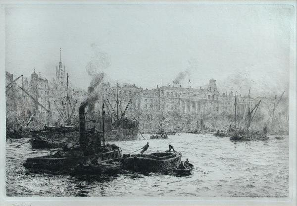 298: W L WYLLIE  SHIPPING  SIGNED ETCHING