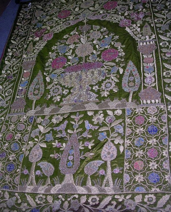 520: A GILT EMBROIDERED BED SPREAD