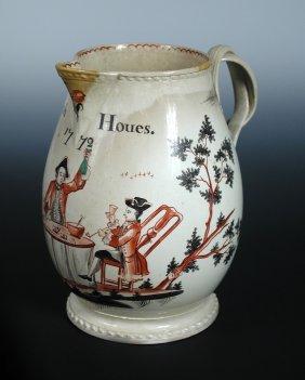 A creamware jug inscribed to 'Joseph Houes 1772',