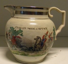An Early 19th Century Pearl Ware Satirical Jug,