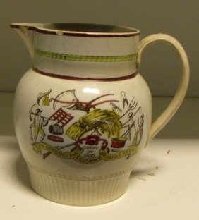An early 19th century pearl ware jug, possibly Sunderla