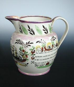 A Sunderland pink lustre jug