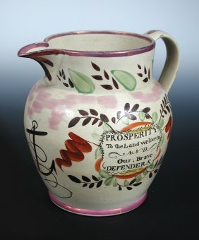 A George IV Sunderland pink lustre jug