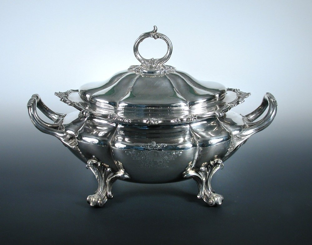 A large early Victorian silver soup tureen,