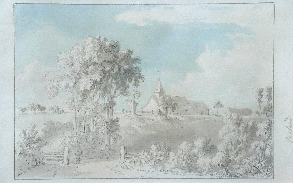 Anthony Devis - View of St Nicholas Church, Pyrford, Su