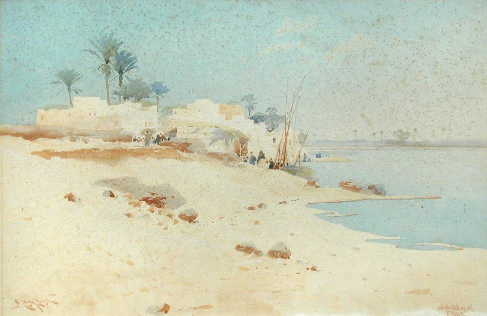 § Augustus Lamplough - Arab Village at Esna - signed