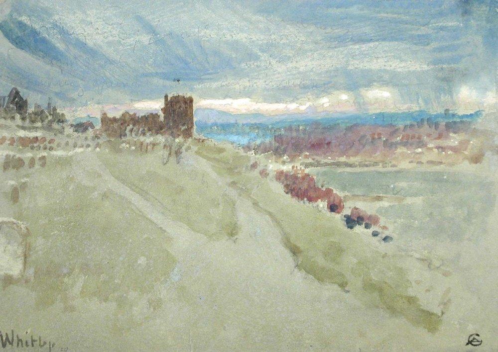 § Albert Goodwin (British, 1845-1932) - Whitby - waterc