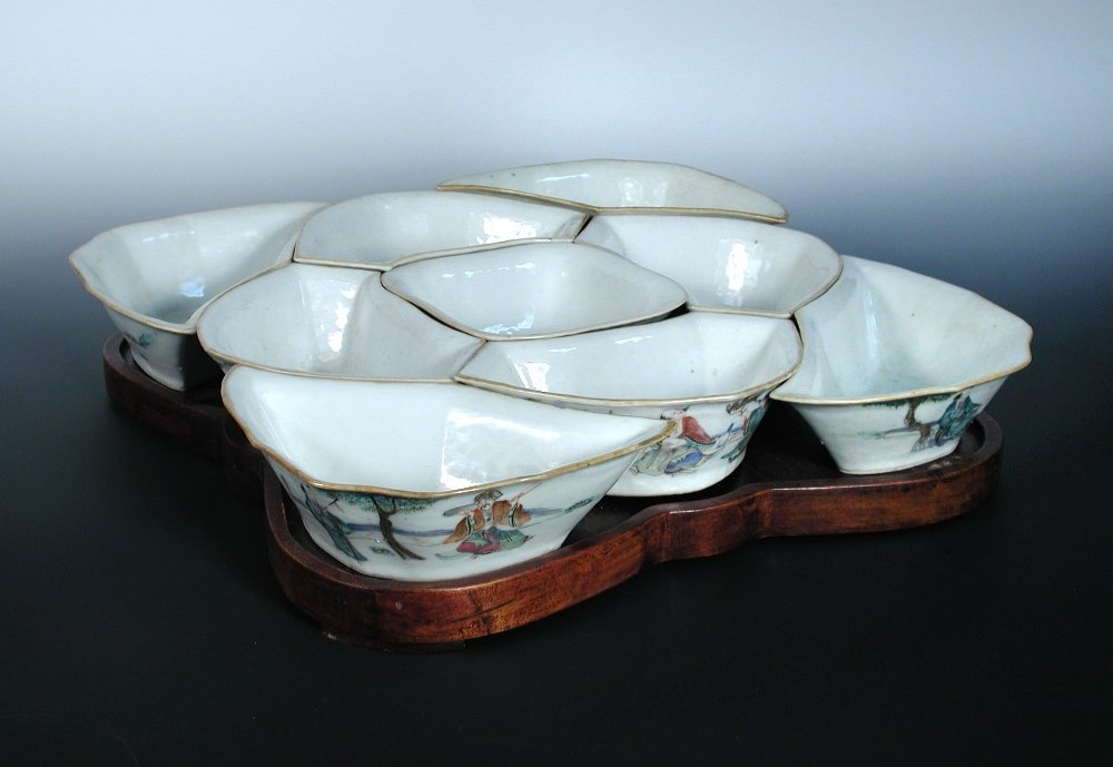 A late 19th century nine piece supper set on hardwood s