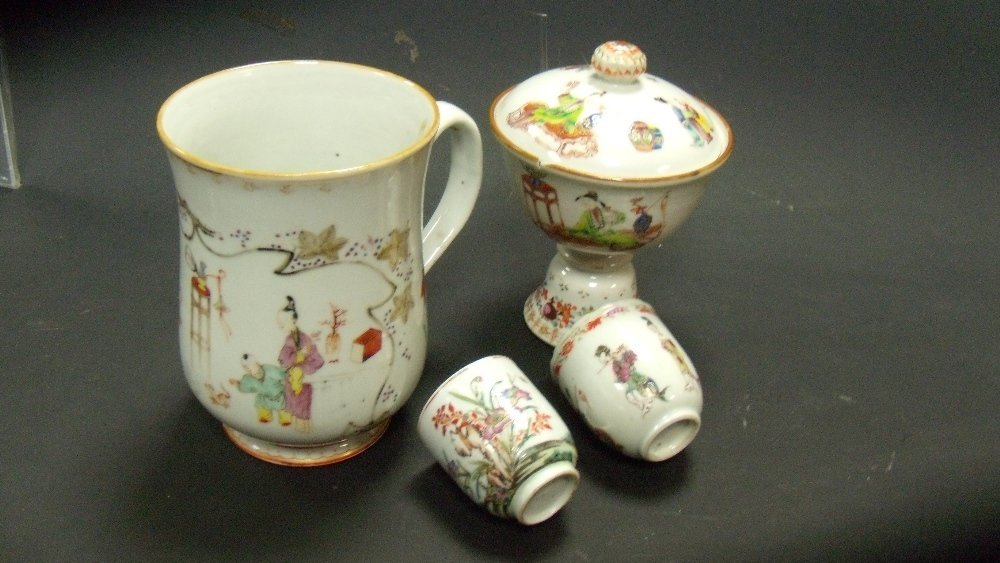A late 18th century famille rose mug, covered standing