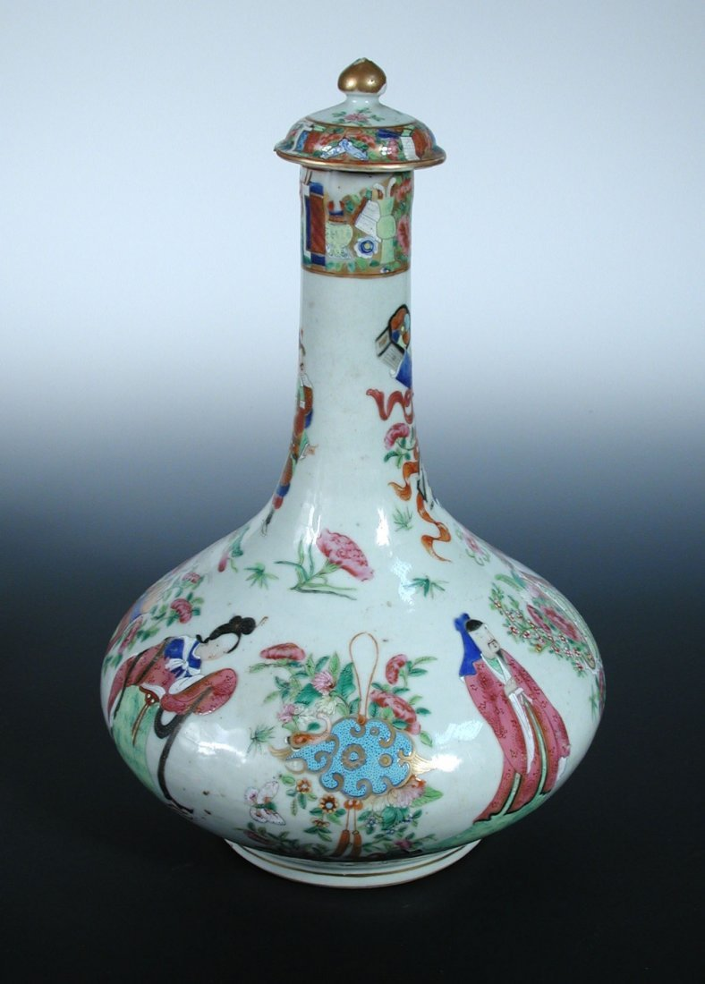 A 19tth century Canton bottle vase and cover