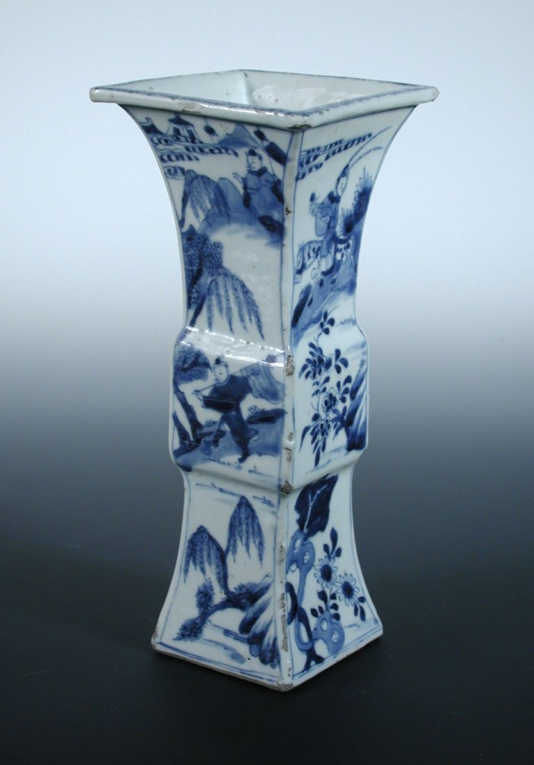 A gu-shaped blue and white vase, period of Kangxi,