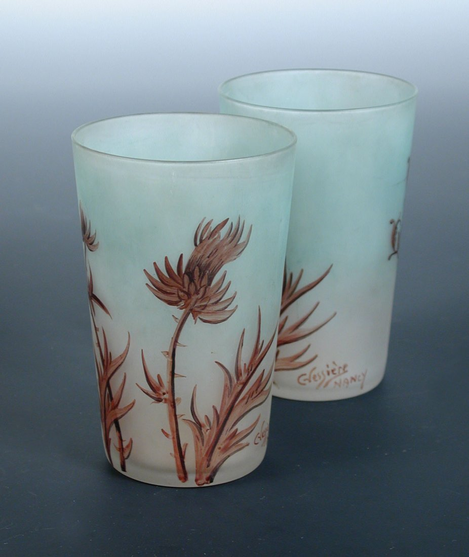 A pair of Vessiere glass beakers,