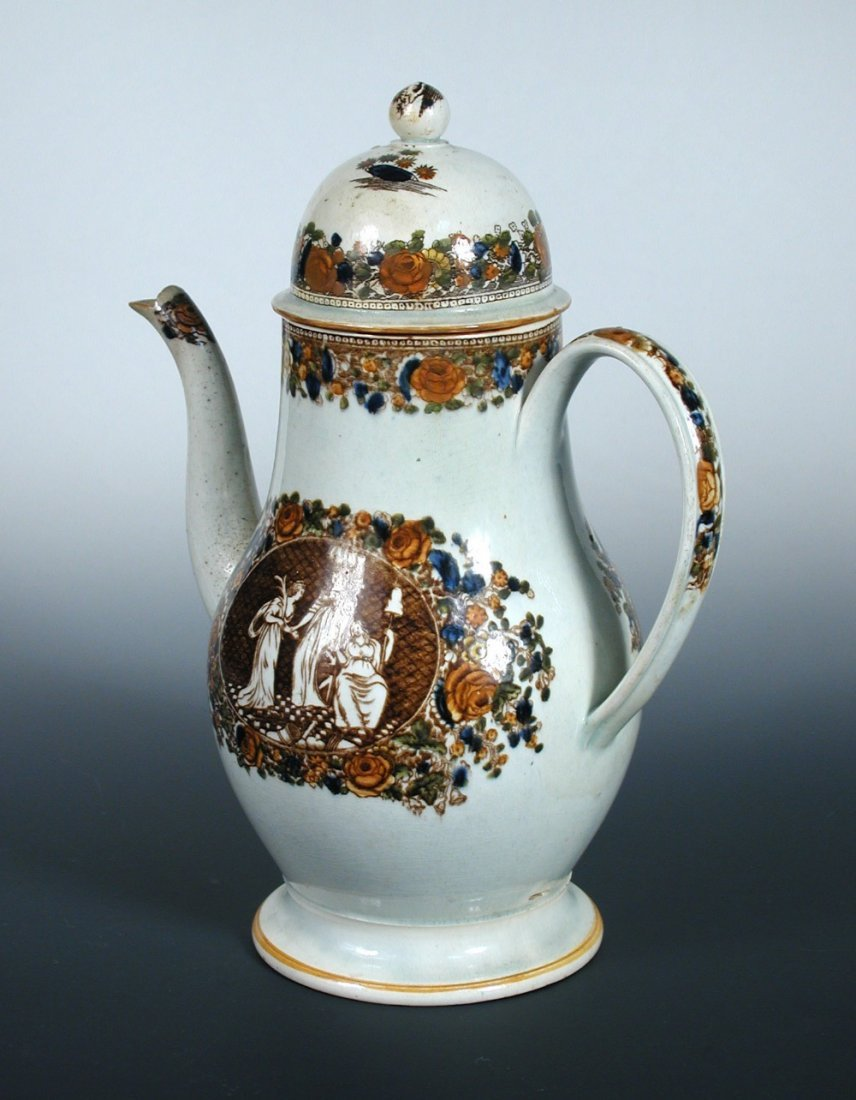 An early 19th century Liverpool pearl ware coffee pot