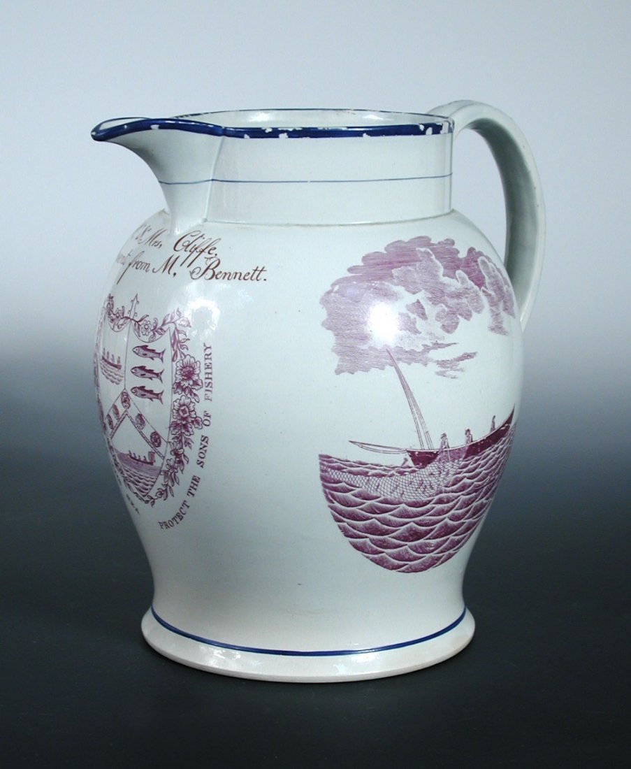 An early 19th century pearlware jug