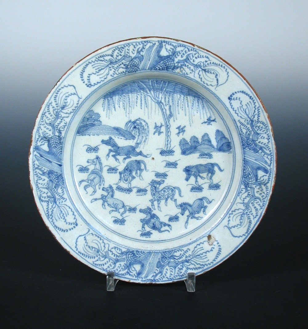 Attributed to Liverpool an 18th century Delft blue and