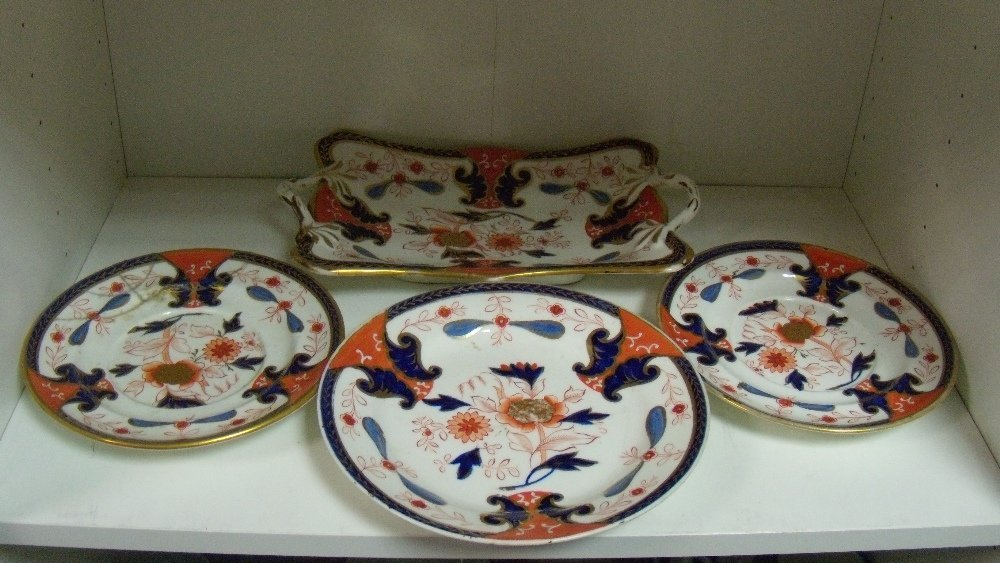 Four matching pieces of Swansea Imari palette wares