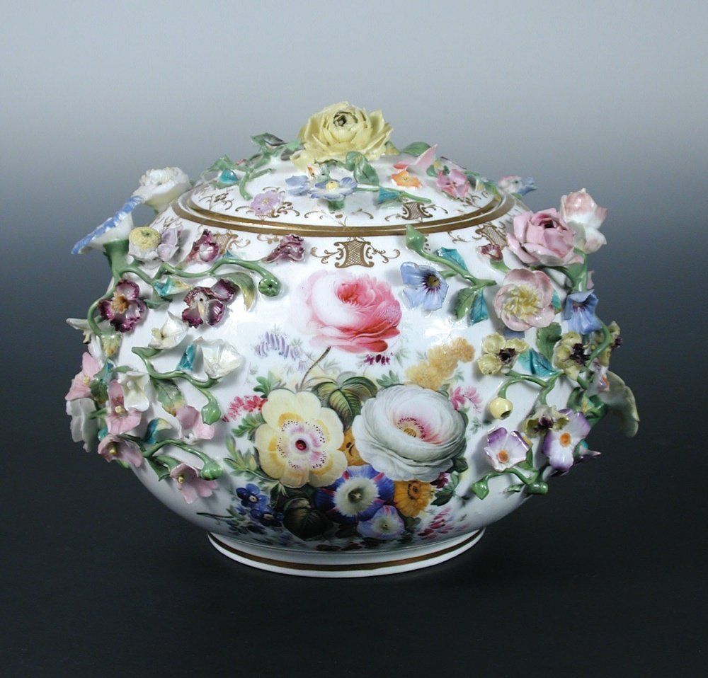 Attributed to Minton, a mid 19th century encrusted pot