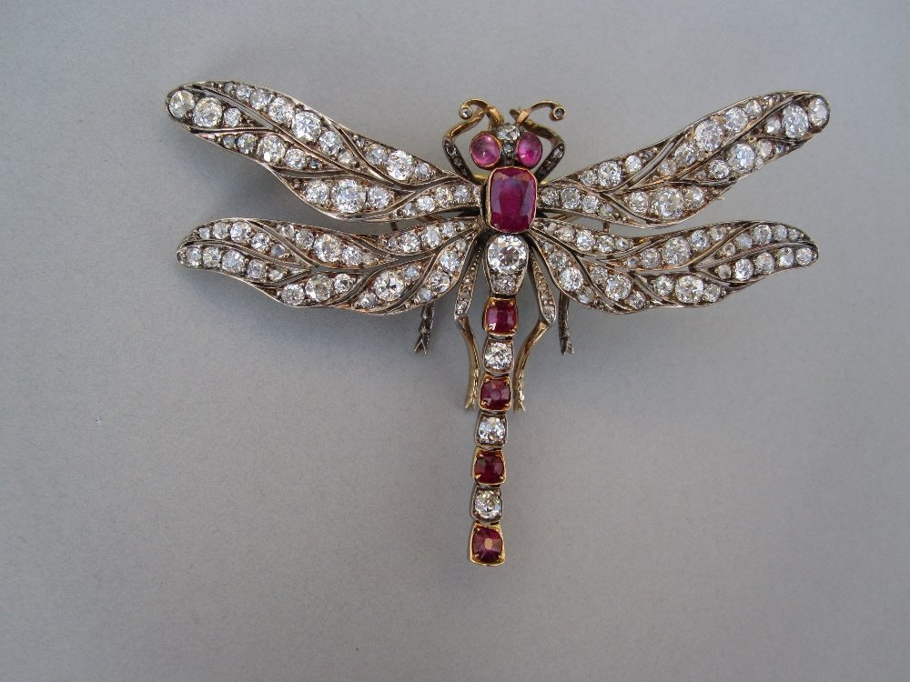 A 19th century diamond and ruby dragonfly brooch /