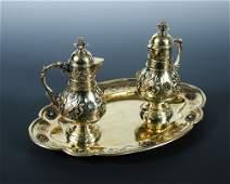 A French silver gilt 1st standard altar set,