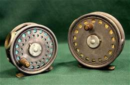 Hardy - Two St George trout fly reels,