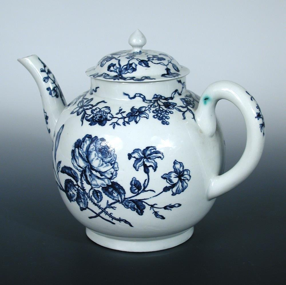 An 18th century Worcester blue and white punch pot and