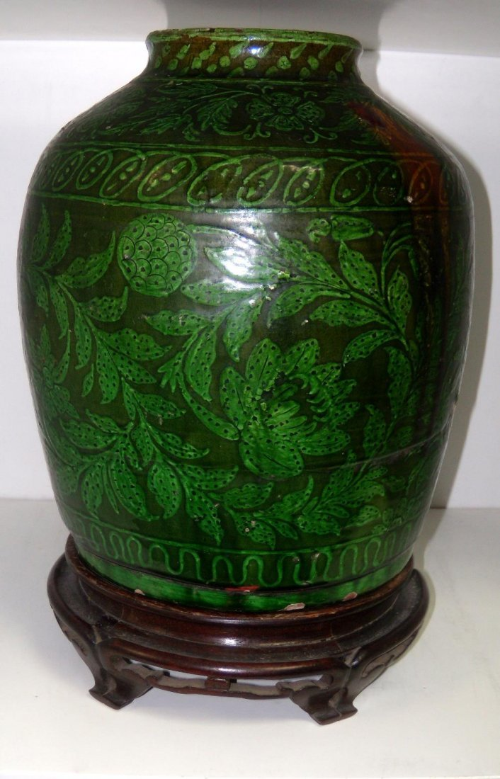 A Middle Eastern green glazed vase, possibly 18th/19th