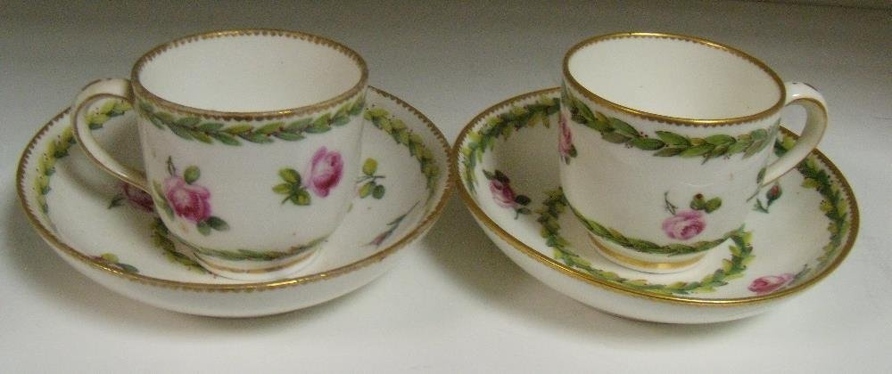 Two Sevres cups and saucers, date letters for 1767,