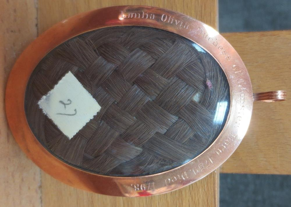 A lock of hair from Emilia Olivia, Duchess of Leinster,