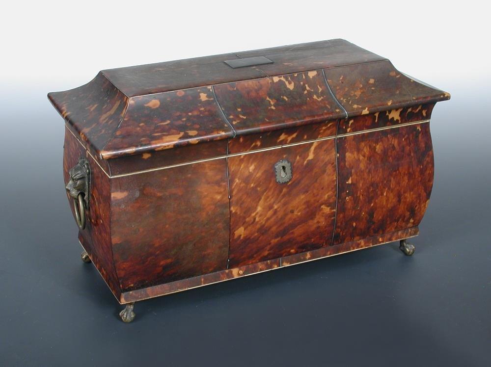 A Regency tortoishell tea caddy,
