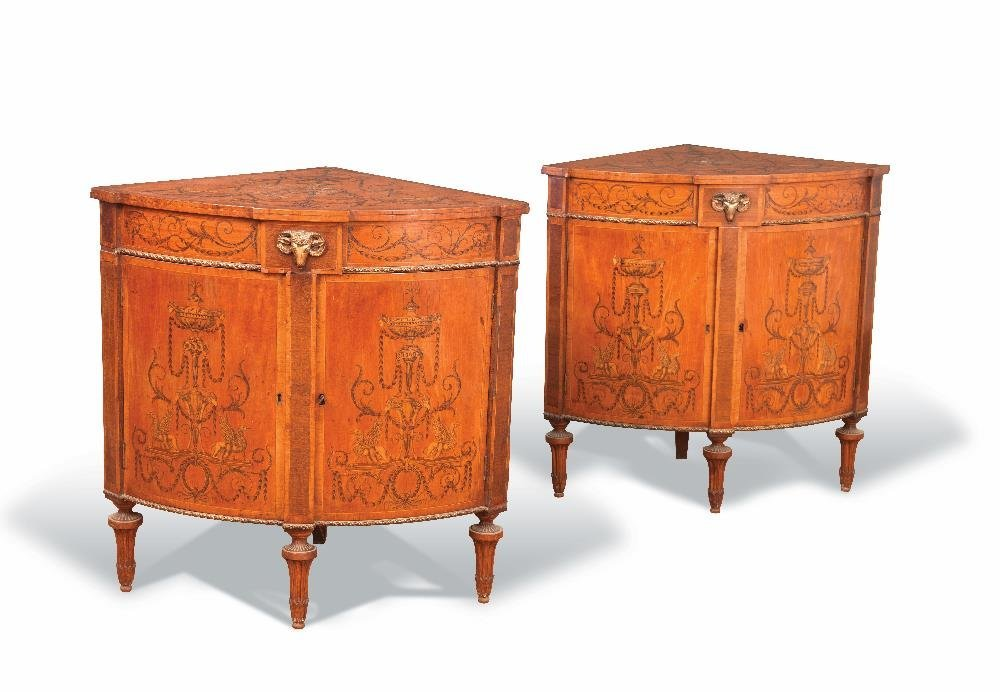 A pair of late 18th century Irish satinwood corner
