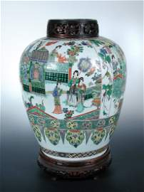 A late 17th/ early 18th century famille verte jar, wood