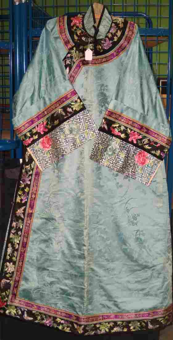 A late 19th/early 20th century blue silk damask full