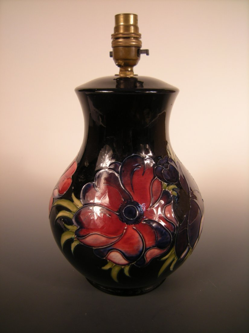A Moorcroft Anemone pattern table lamp base,