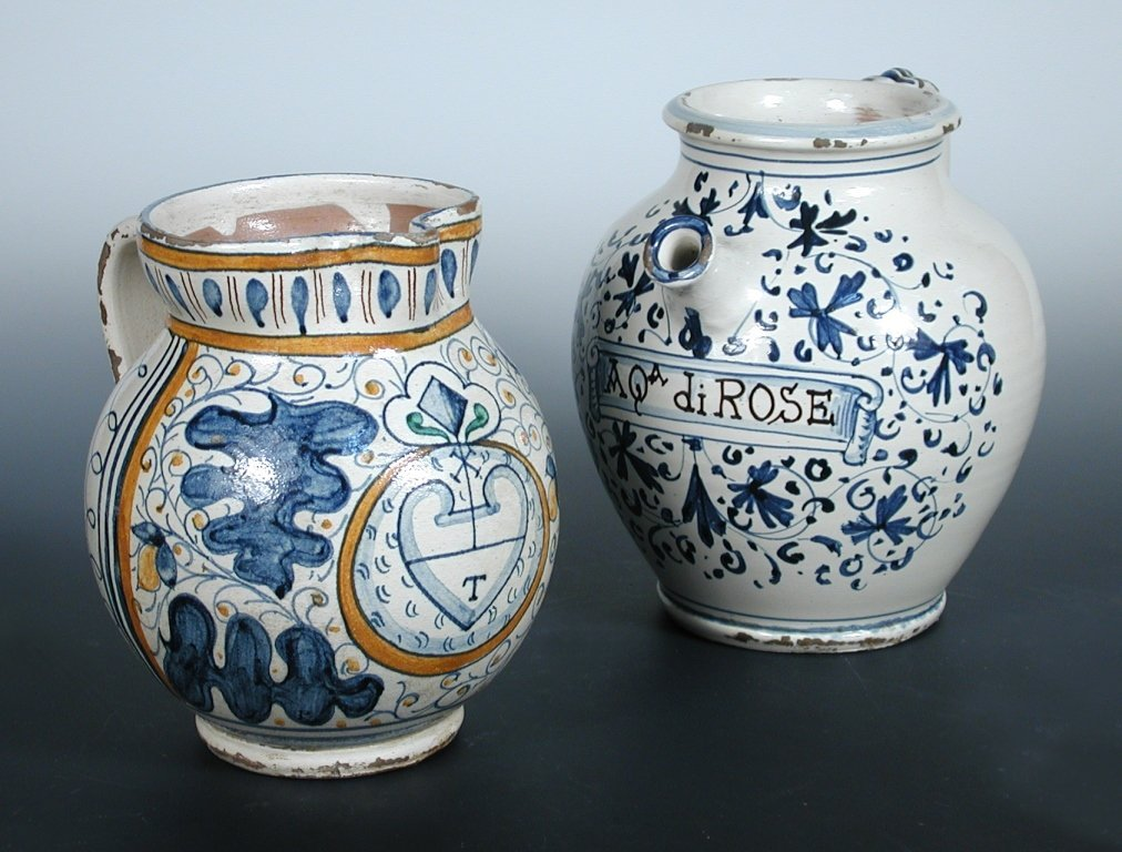 An 18th century blue and white wet drug jar, possibly