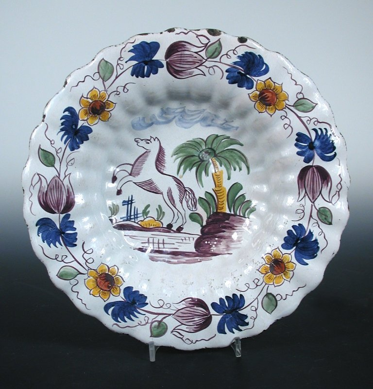 A mid 18th century Delft dish, possibly Frankfurt or