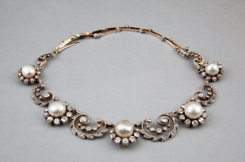 An antique diamond and natural pearl swag necklace,