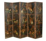 A large five fold painted leather screen,