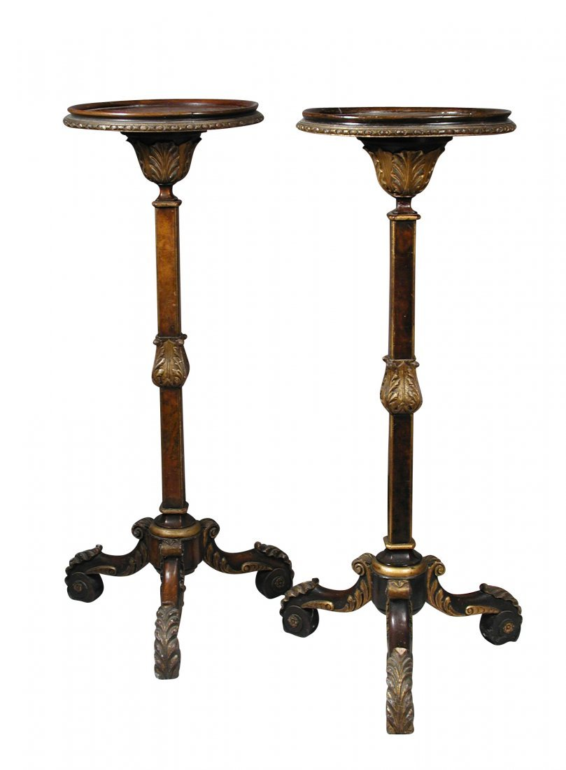 A pair of William and Mary revival walnut torchere,