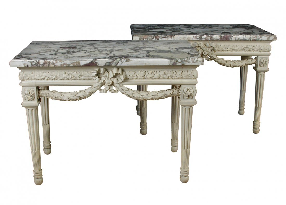 A pair of Louis XVI style French grey painted console