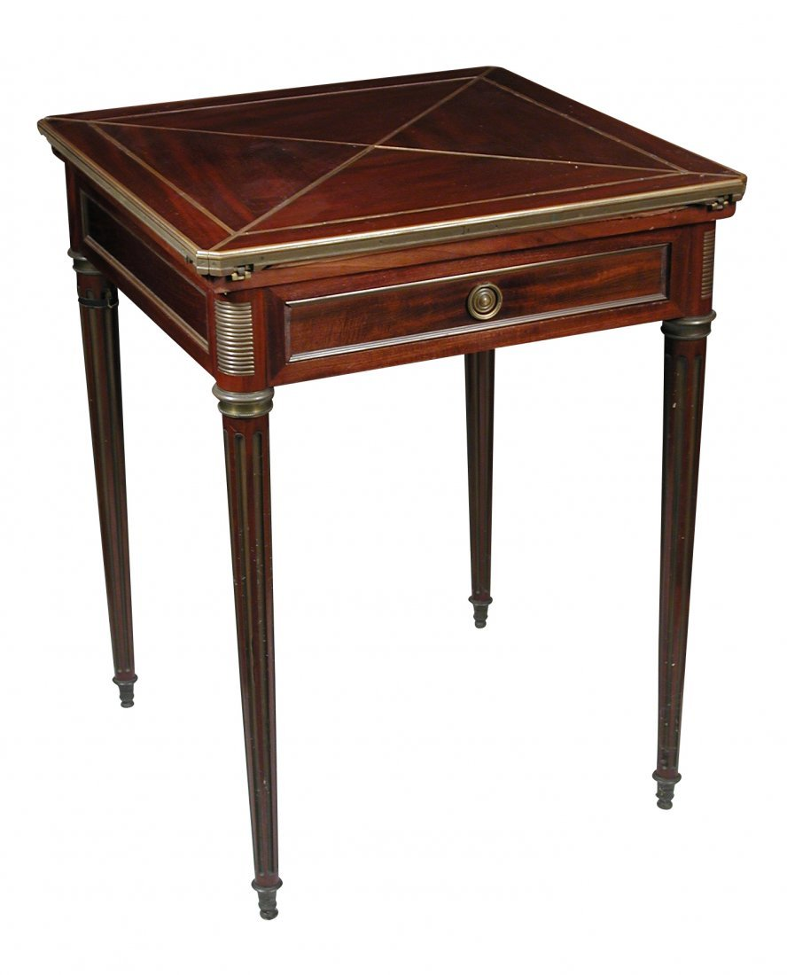 A French mahogany envelope card table, circa 1900,
