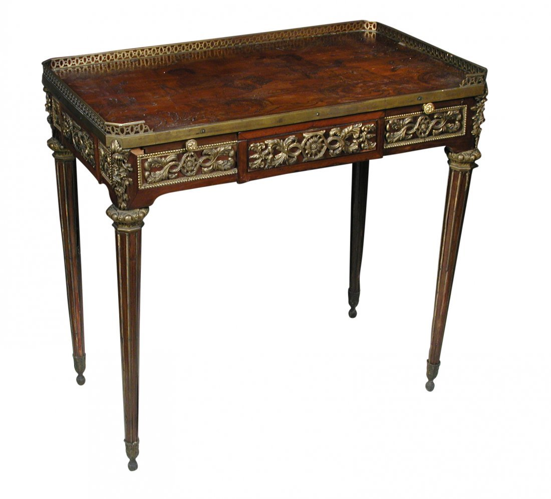 A Louis XVI revival French gilt bronze and marquetry